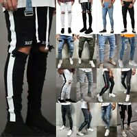 Men's Denim Ripped Distressed Jeans Skinny Pants Frayed Biker Slim Fit Trousers