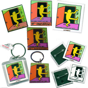 Keith Haring National Coming Out Day Logo Button Lapel Pin Key Ring Chain Magnet