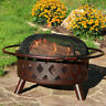 Sunnydaze Bronze Crossweave Wood Burning Fire Pit with Spark Screen - 30-Inch