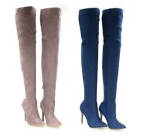 WOMENS LADIES  OVER THE KNEE THIGH HIGH LONG BOOTS STILETTO POINT POINTED BB22