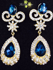 18K Gold Plated Blue Crystal Rhinestone Drop Dangle Fashion/Party Earrings
