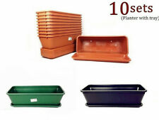 10x Home Garden Planter Pots Flower Pots Tray Rectangle Plastic Magic #4033/3555