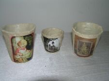 Lot of 3 Rustic Decoupaged Seed Starters with Vintage Christmas Holiday Pictures