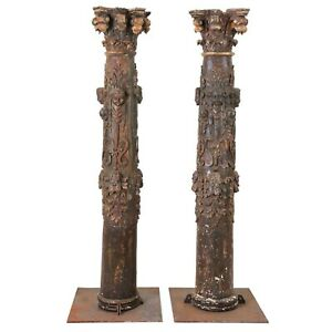 "Pair of 17th Century Rare and Important Monumental 80"" Baroque Carved Columns"