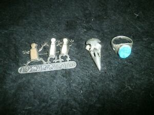 Vintage 925 sterling silver 3 items mix lot mens ring brooche and skull pendant