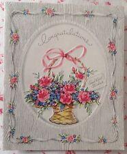 Vintage 1940s Embossed, Die-Cut Congratulations Greeting Card Ribbons & Roses