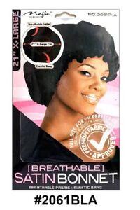 MAGIC COLLECTION WOMEN'S Breathable SATIN BONNET LARGE 2061 BLACK