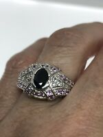 Vintage Blue Sapphire Ring 925 Sterling Silver Pink Sapphire Size 7