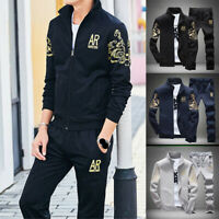 Set Sportswear Tracksuit Athletic Men 2pcs Jogging Jacket+Pants Casual Sport