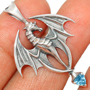 Dragon - Blue Topaz 925 Sterling Silver Pendant Jewelry BP50321