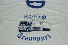 80s Vintage White Blue Scales Transport Truck Trucking L Large Ringer Tshirt