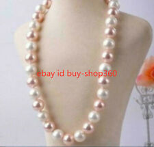 "Natural 12MM Pink White South Sea Shell Pearl Necklace 18"" AAA"