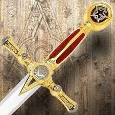 "45"" Knight's Templar Masonic Steel Historic King Arthur Medieval Sword w/ Sheath"