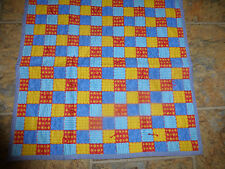 """Handmade Tied Doll/Baby Quilt 22"""" x 22 """" Star Striped Blue Squares"""