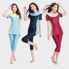 Damen Kurzarm Muslim Bademode Modest Islamisch Badeanzüge Burkini 2 Pcs/Sets