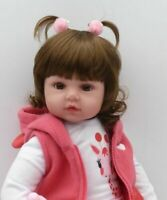 "Newborn Doll Real Lifelike Silicone Reborn Baby Dolls Toddler Girl Gift 22"" UK"