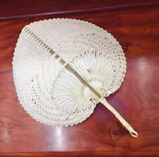 Thai Handle Fan Nature Bamboo Handmade Weaving Woven Wicker Vintage Crafts
