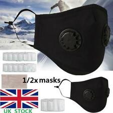 1/2X Reusable Anti Haze Fog PM2.5 Respirator 2 Valves Face Mask +Carbon Filters