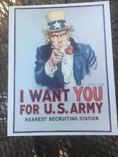 Vintage Cardboard Recruiting Poster I Want You Army Uncle Sam 1968 Vietnam