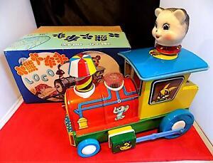 Vintage Tinplate + Plastic Battery Op Animal Locomotive, Cat Driver. China, EXiB