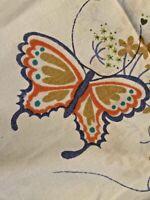 Vintage Marlene Design Tastemakers Double Flat Sheet Butterflies USA Hippie Boho