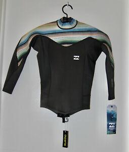 NWT Billabong Women's 202 Gray Striped Synergy Back Zip LS Wetsuit Swim Top sz 2