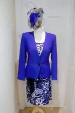 12/14 Jacques Vert Cobalt Blue Black Dress Jacket Fascinator Mother of The Bride