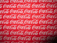 COCA COLA COKE WORDS RED COTTON FABRIC FQ