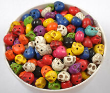 Wholesale 20pcs Turquoise Carved Skull Center Side Drilled Beads
