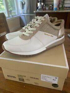 New In Box Women's Michael Kors Allie Wrap Leather/Glitter Trainer Sneaker 8.5 M