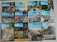 Lot of 12 Model Railroader Magazines 1983 Complete year, Full