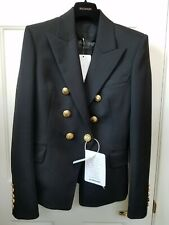 NEW Authentic BALMAIN Black Wool Double Breasted Blazer Jacket Size 6/38