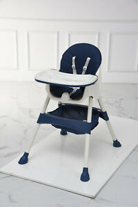 Baby Highchair Adjustable 2-1  Infant High seat Feeding Toddler Table Chair blue
