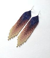 Blue Brown Handmade Beaded Earrings Native American Earrings Seed bead earrings