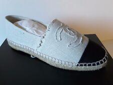25273daeba9 NIB Chanel Beige White Linen Canvas Espadrilles Ballet Flat shoes sizes 35  - 42