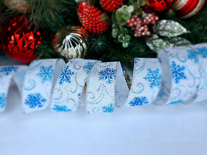 CHRISTMAS WIRED EDGE RIBBON 1.5 IN WIDE SNOWFLAKES TREE WRAP GIFT WRAPPING BULK