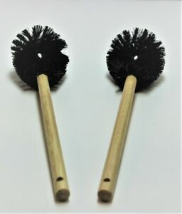 """Rubbermaid Black 20"""" Commercial Poly Bristle Janitorial L Toilet Bowl Brush 2 pc"""