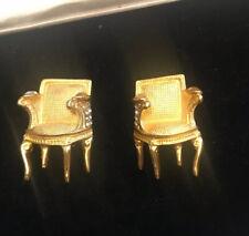 Vtg KARL LAGERFELD Huge Gold Royal Chair Gripoix Cab Earrings Designer Runway