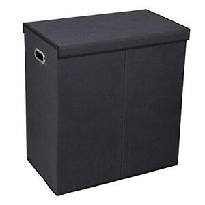 Household Essentials 5618 Double Hamper Laundry Sorter with Magnetic Lid Closure