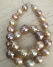 gorgeous 14-15mm south sea baroque gold pink pearl necklace 18inch