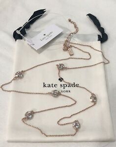Kate Spade lady marmalade scatter necklace long rose gold plated new + dust bag