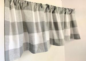 "Valance Gray and White Buffalo Check Handmade Window Treatment 53""W x 14"" L"
