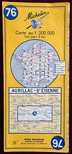 MICHELIN 1971 COLOURED PAPER MAP of AURILLAC-St ETIENNE No. 76 1:200 000