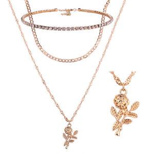 Schmuckset Halskette Armband Rose Blume Zirkonia Doppel Layer Blüte Liebe