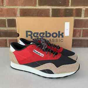 Reebok Classic Nylon suede Sneakers Red/tan Men's Size US 10.5 NEW