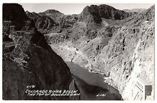 RPPC Colorado River below top of BOULDER DAM Vintage Photo L.L. COOK L-191