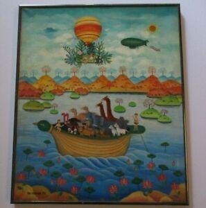 BIN KASHIWA OIL PAINTING ON CANVAS JAPANESE MODERNISM NOAH'S ARK  FOLK POP ART