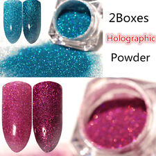 2Boxes Holographic Glitter Nail Powder Dust Holo Laser Nail Art  Tips