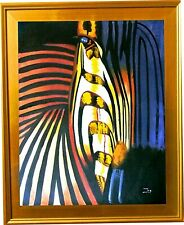 "Zoe-""Abstract Zebra""-Framed Hand-Painted ORIG Oil Painting/Canvas/Hand Signed"