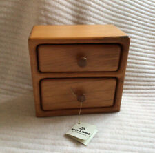 More details for new zealand matai wood two drawer small box mid century style dandee design kara